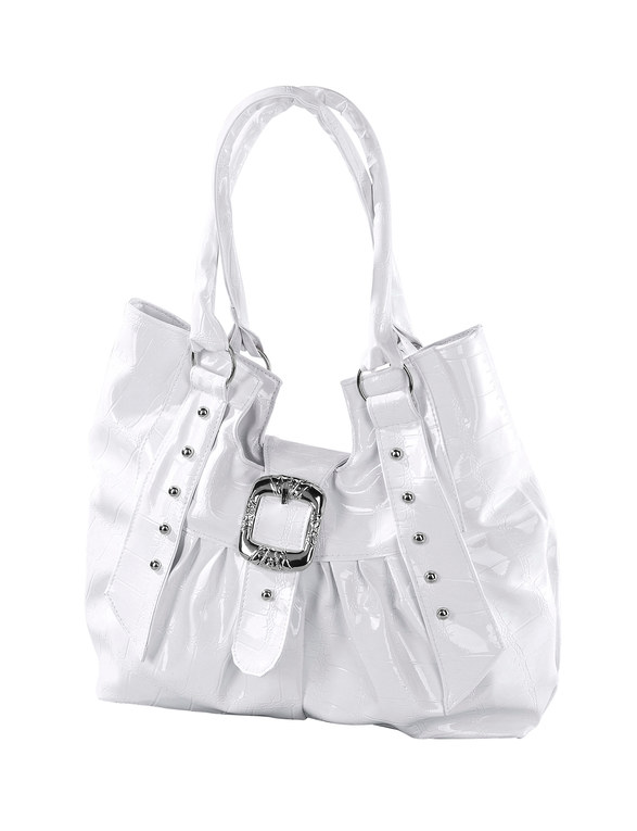 Large White Buckle Bag