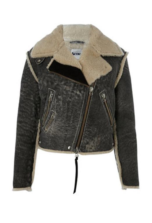 Winter coats 2010: Shearling leather biker jacket