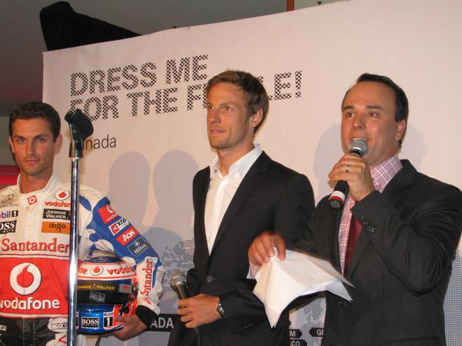 Jenson Button avec l'animateur Gino Chouinard @ Hugo Boss Montreal