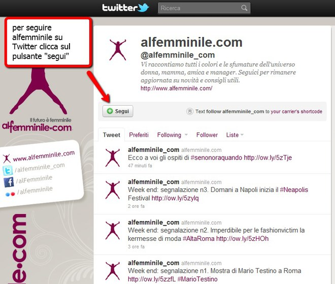 Follow alfemminile su Twitter