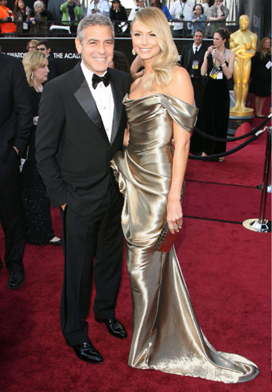 George Clooney and Stacey Keibler - Oscars Red Carpet Pictures