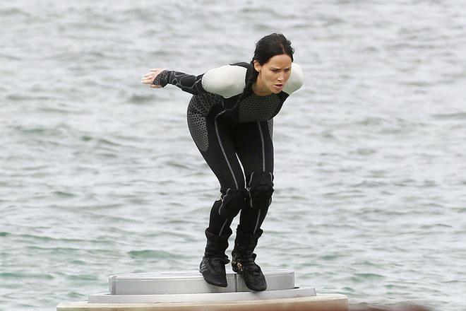 Jennifer Lawrence sul set di