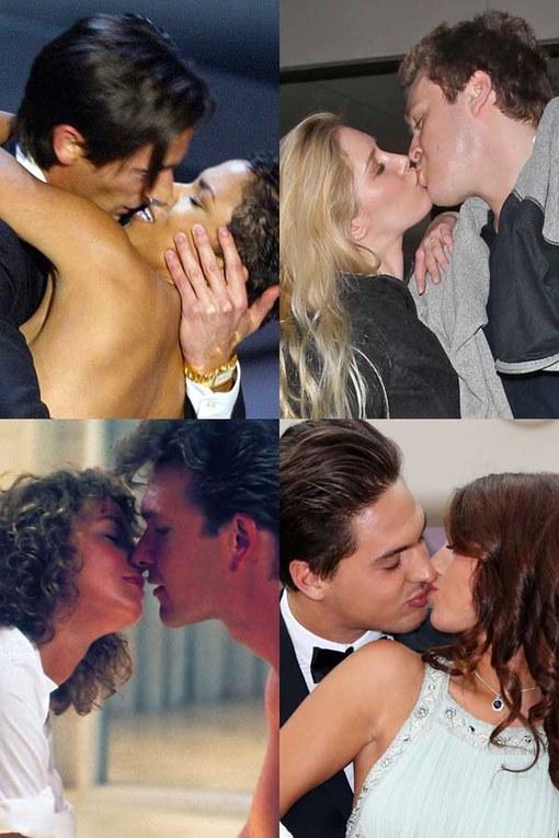 Celebrities lock lips