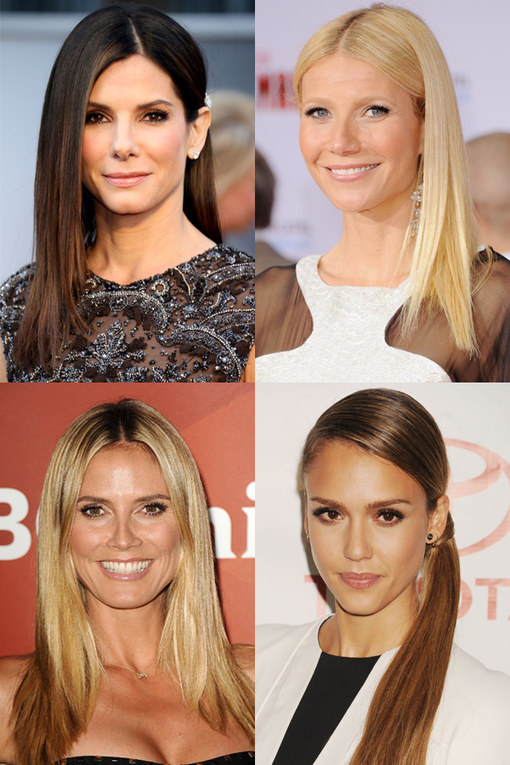 Celebrities with straight hair