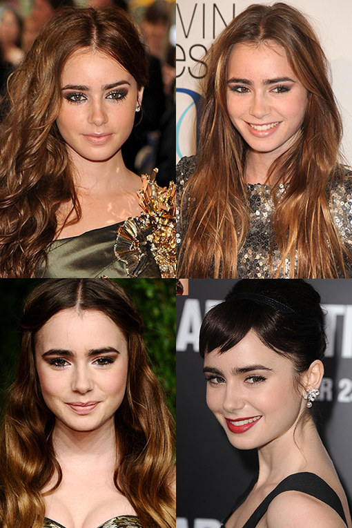 Lily Collins hair style history