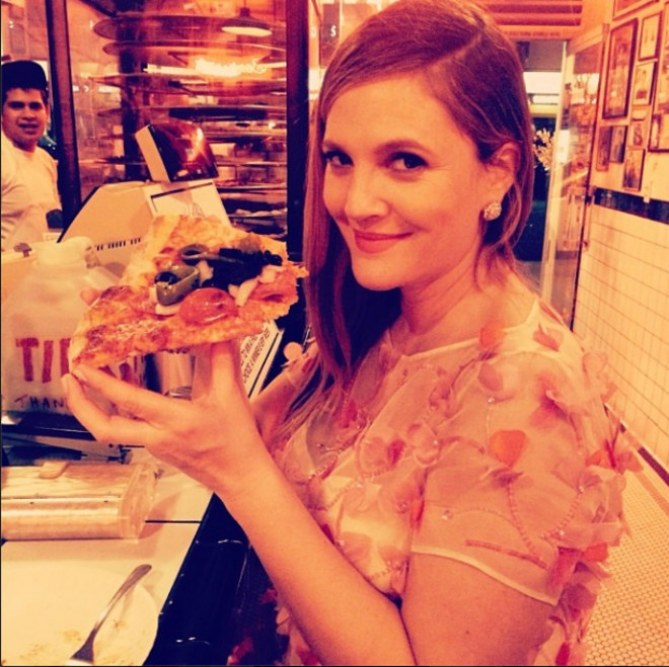 Drew Barrymore enceinte et gourmande sur Instagram