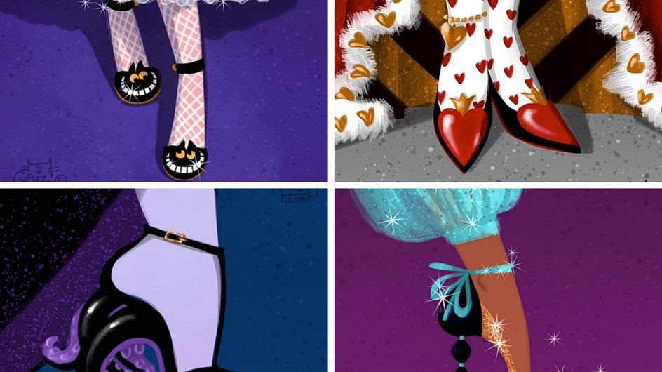 Principesse Disney e scarpe d'alta moda