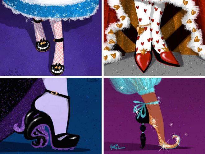 Principesse Disney con scarpe d'alta moda