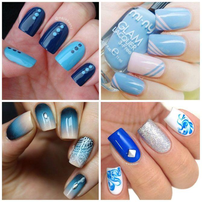 Nail art com esmalte azul. Ideias aqui!