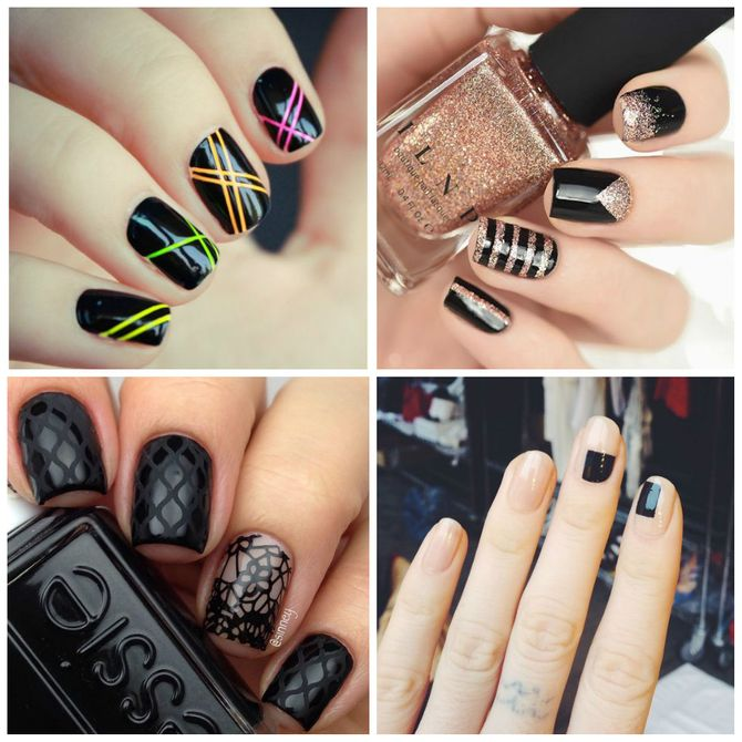 Nail art com esmalte preto