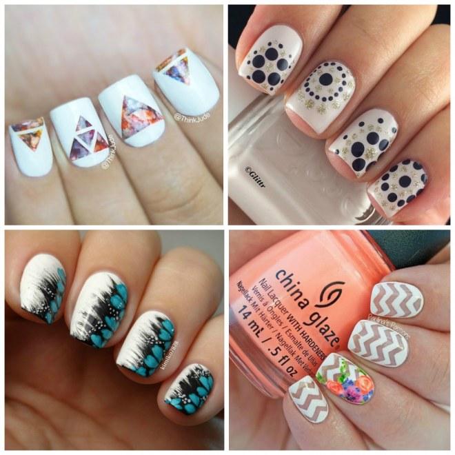 Nail art com esmalte branco <3