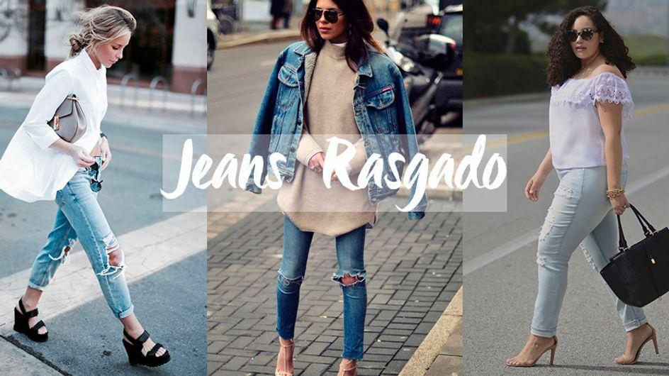 Destroyed! Jeans rasgado com pegada sexy, moderna ou comfy neste guichê
