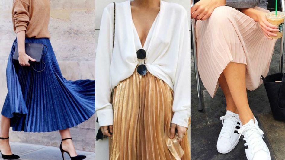 O que usar com uma saia plissada?