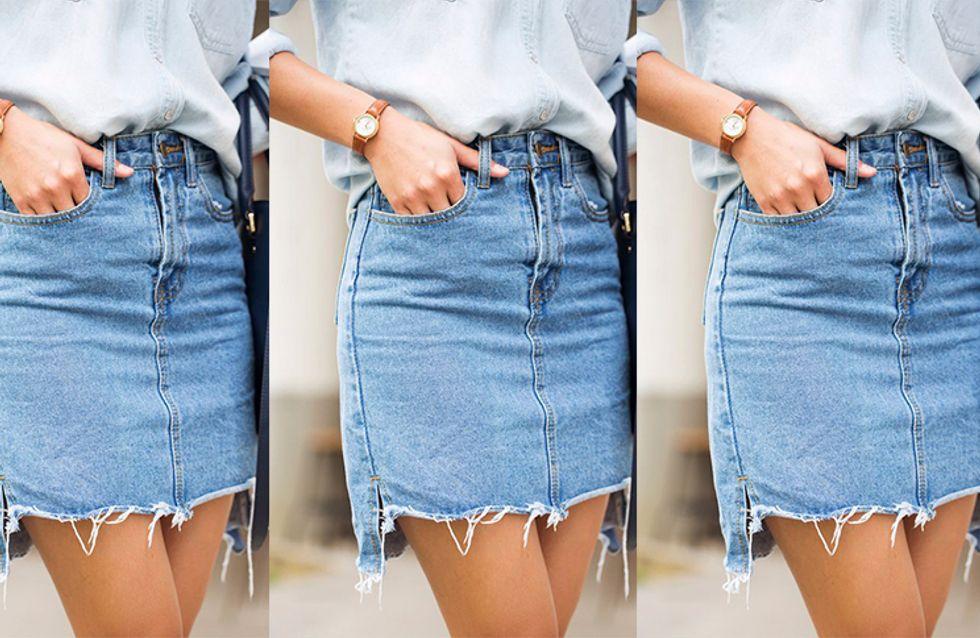 Oi, saia jeans, sua sumida