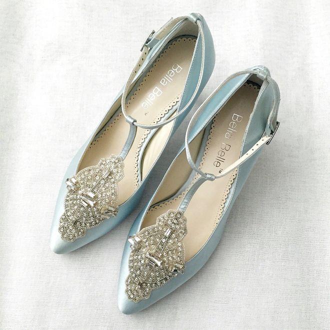 Sapatos azuis para noivas