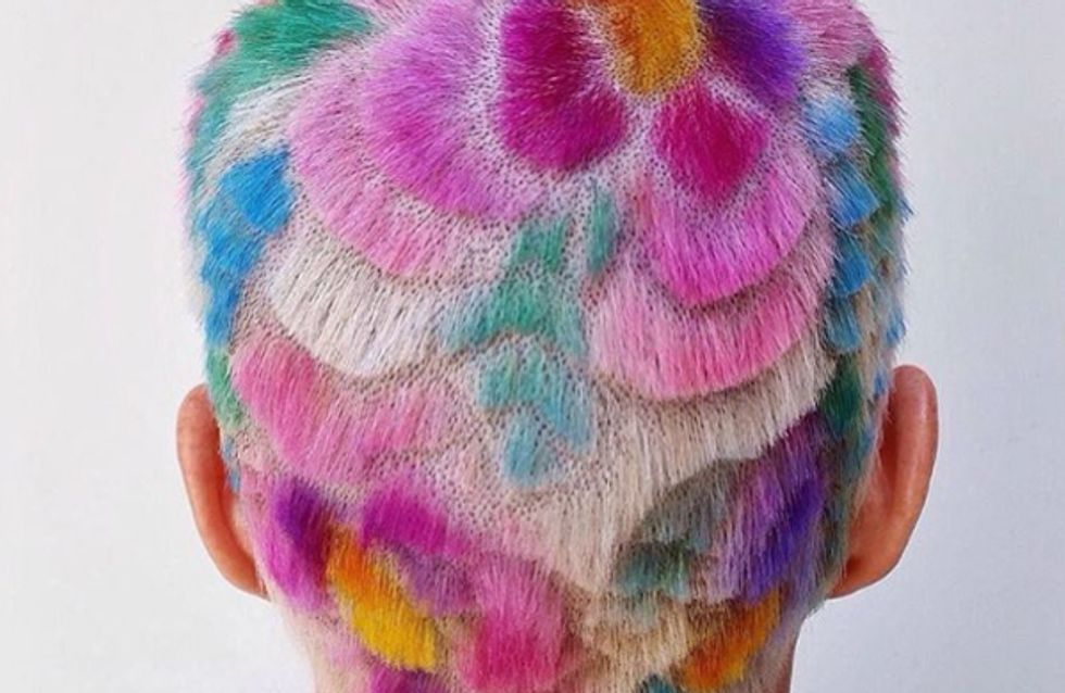 Rainbow Carved Hair Is The Coolest Shaved Head Trend