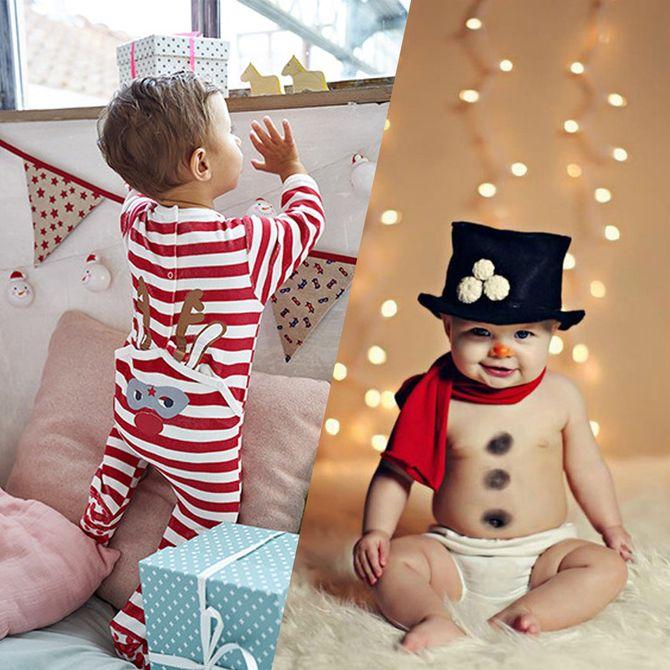 Gardez des souvenirs photos adorables et originaux du premier Noël de bébé