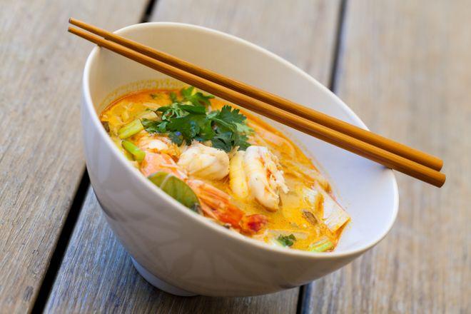 Soupe thaï aux crevettes