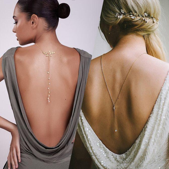 De jolis colliers de dos pour les mariées