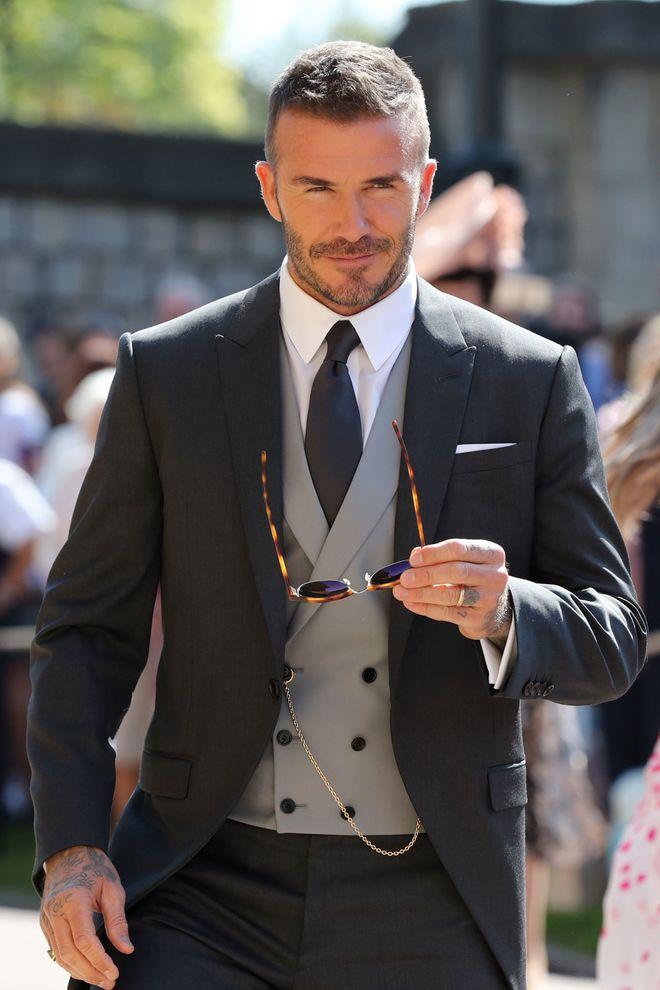 Así fue David Beckham a la boda de Harry y Meghan