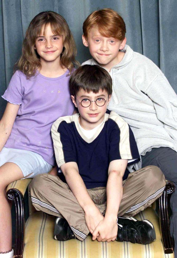Emma Watson, Rupert Grint und Daniel Radcliffe, 2000