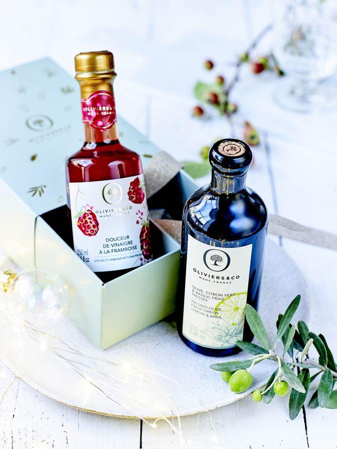 Coffret duo huile d'olive au basilic et douceur de vinaigre de framboise, Oliviers&co