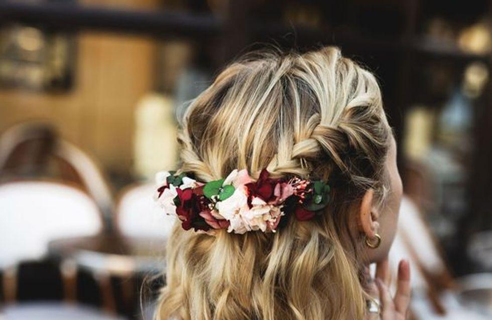Coiffure cheveux boucles mi long pour mariage