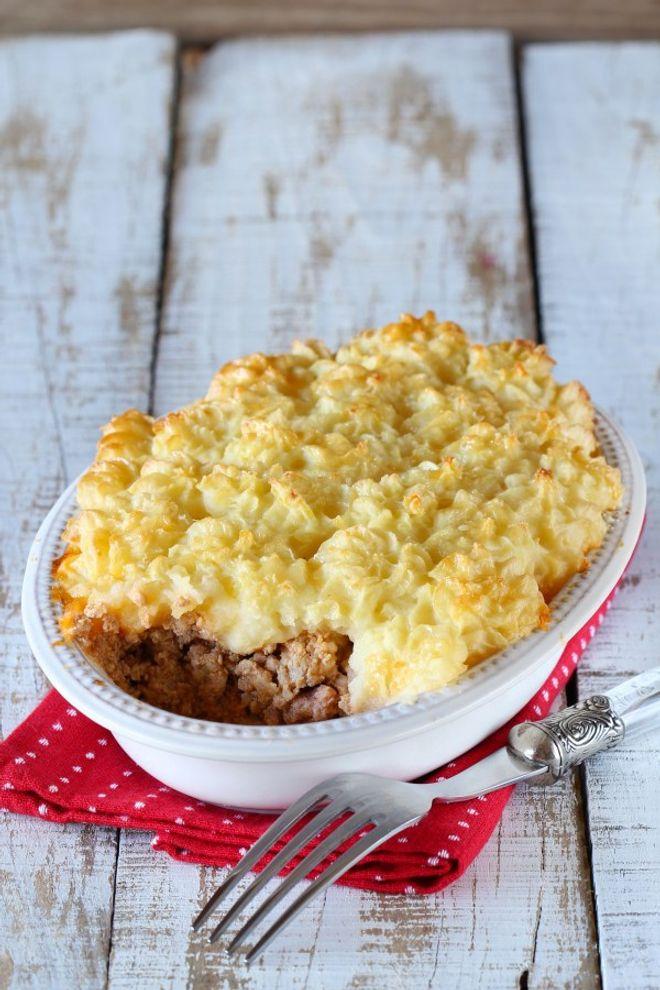 Pastel gratinado de carne y patata