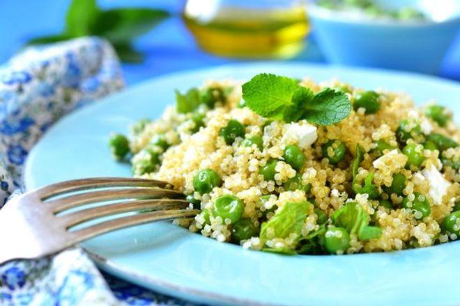 Lundi midi : quinoa aux petits pois et à la feta