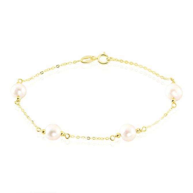 Bracelet doré avec perles nacrées