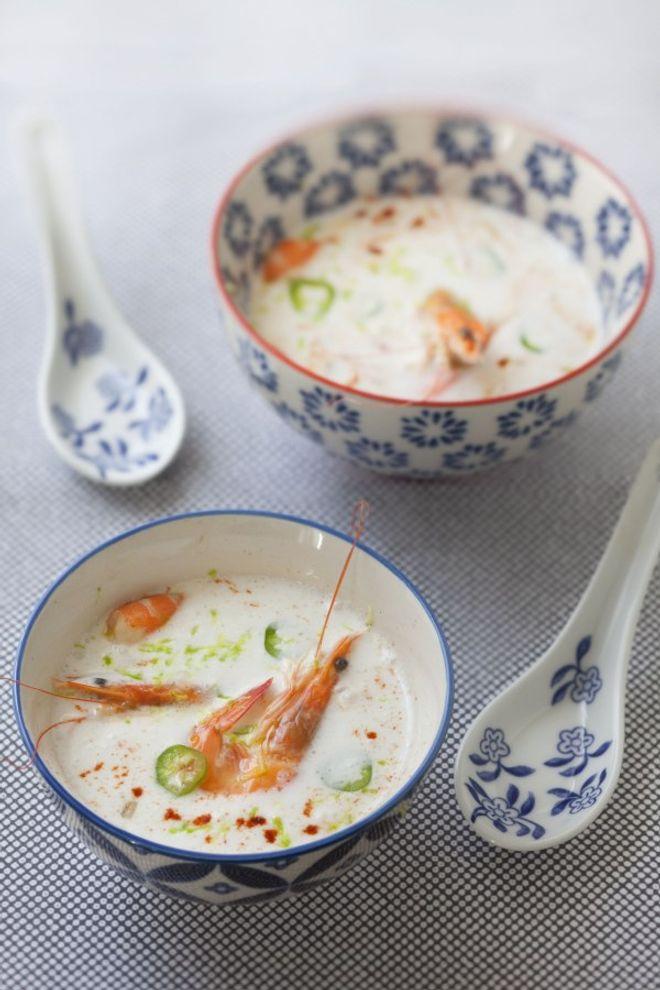 Lundi midi : soupe crevettes, coco et gingembre