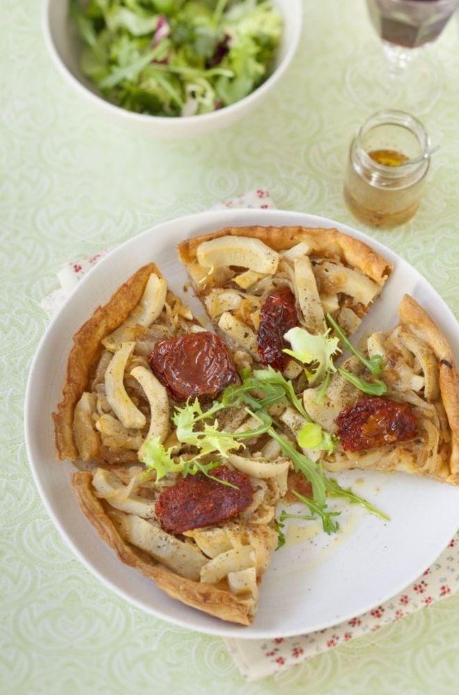 Lundi midi : tarte rapide aux artichauts et tomates séchées
