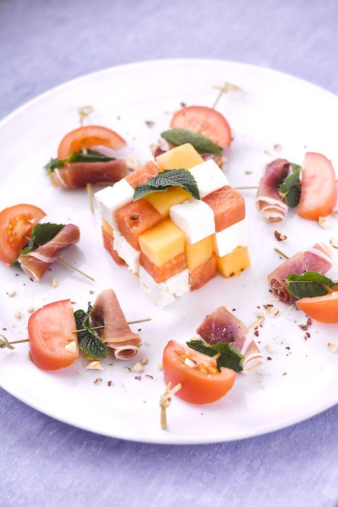 Salade melon, pastèque et crudités