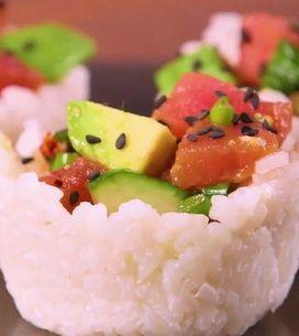 Aprenda a fazer copinhos de sushi
