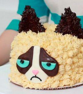 Gatinho mal humorado: veja a montagem desse bolo