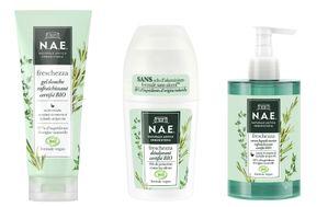 N.A.E Freschezza gel douche, déodorant et savon liquide rafraichissant certifiés BIO