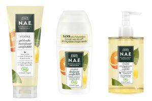 N.A.E Vitalità gel douche, déodorant, savon liquide mains revitalisant certifiés BIO