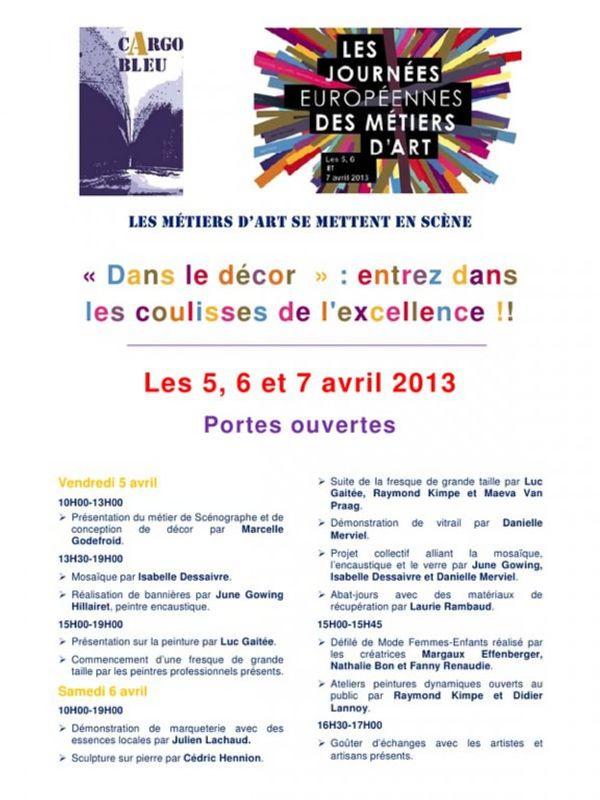 Journées Européennes des Métiers d'Art le 5,6 et 7 avril 2013