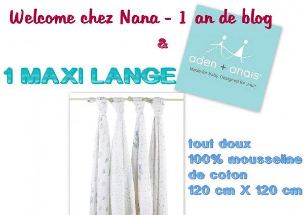1 an de blog - 1 Maxi Lange aden + anais à gagner