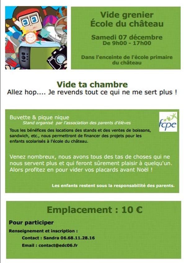 [Bon plan -Vide grenier] Ecole du Château à Nice samedi 07 décembre 2013