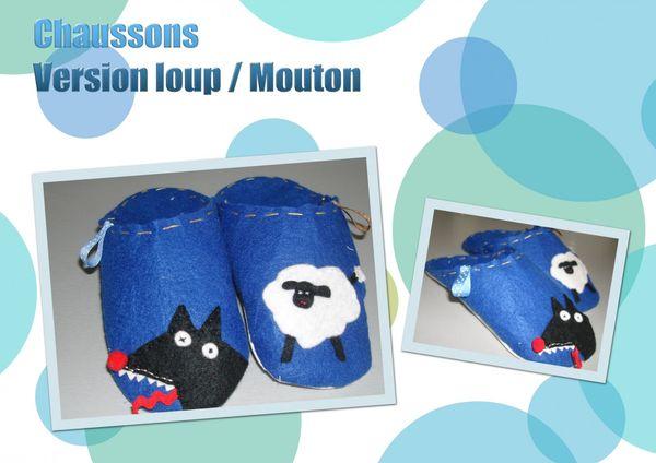 Mr T.'s chaussons version loup et Mouton