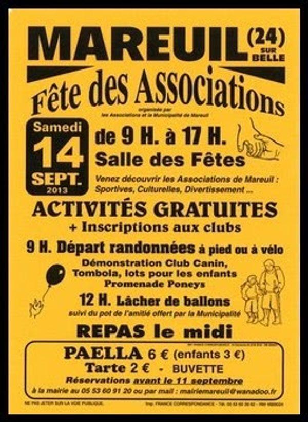 Fête des associations à Mareuil, Dordogne ! venez nombreux pour connaitre les activités sportives, culturelles à faire dans le coin !