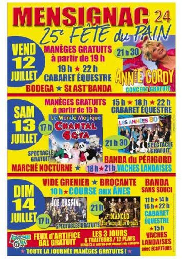 La fête du pain à Mensignac, Dordogne, les 12,13 et 14 juillet 2013