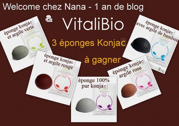 1 an de blog - 3 éponges KONJAC à gagner, merci VITALIBIO!