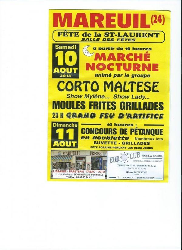 Fête de la Saint Laurent 10 et 11 août 2013 à Mareuil, Dordogne