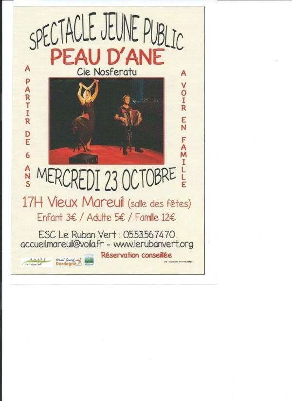 Spectacle jeune public, Peau d'âne (Cie Nosferatu), le Mercredi 23 octobre 2013 à Vieux Mareuil Dordogne