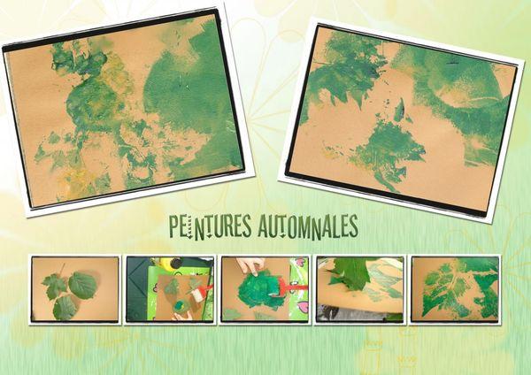 Peintures Automnales - Empreintes feuilles