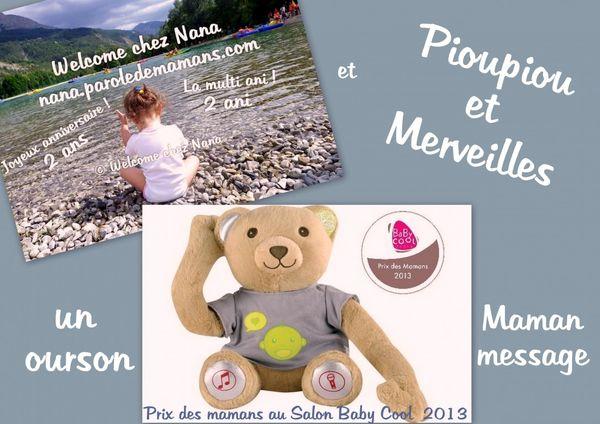 CONCOURS: Welcome chez Nana *2ans* UN OURSON MAMAN MESSAGE de Pioupiou et Merveilles