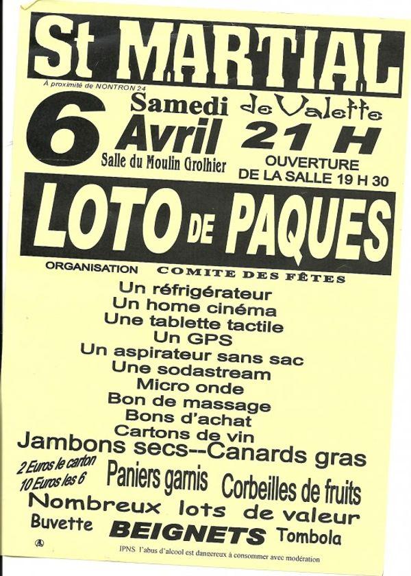 Des lotos pour le samedi 6 avril 2013: Saint Martial de Valette à 21h ou Saint Barthelemy de Bussière à 20h30