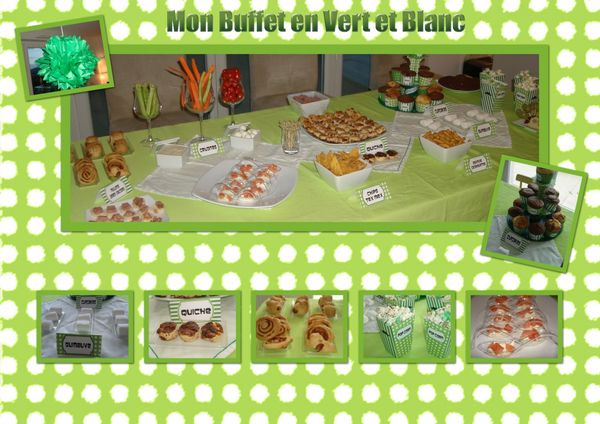 Sweet table en vert et blanc